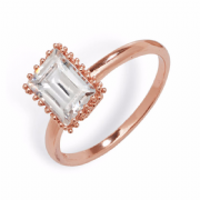 Sterling Silver Rose Gold plated Emerald cut Cubic Zirconia ring